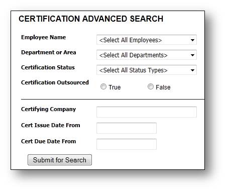 add certification types expired certification reminder advanced search