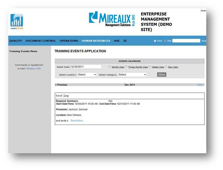 training events management records web qms