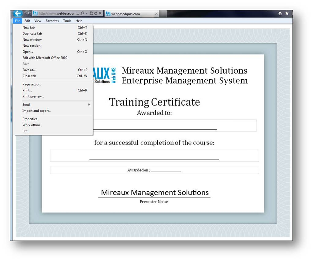 employee certifications tracking web qms application allow printing of certificates
