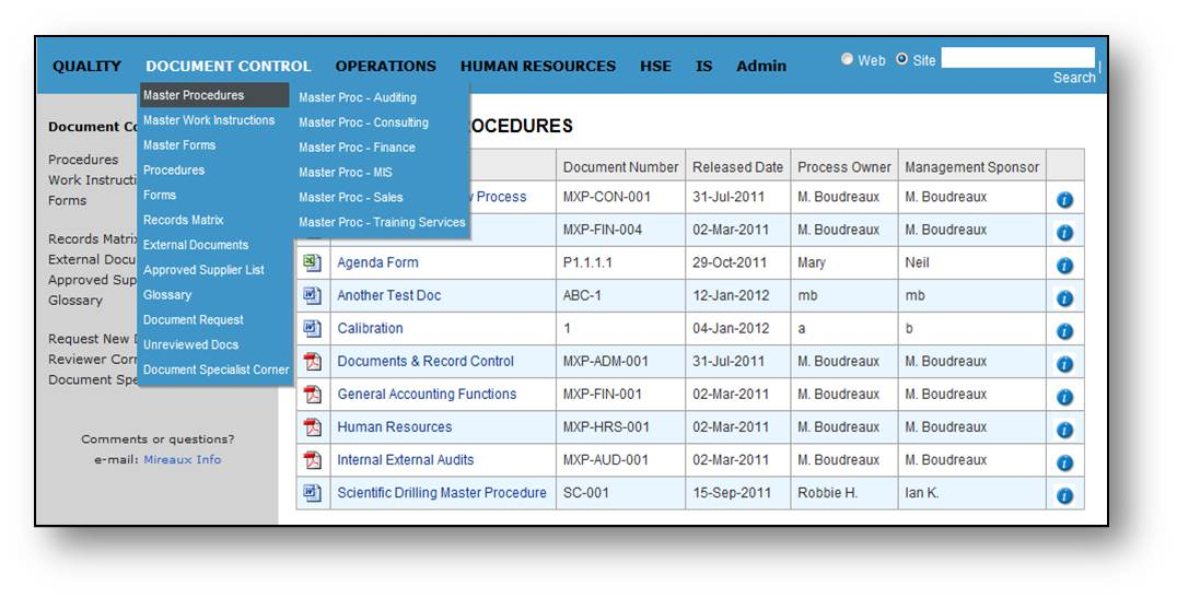 document control master list template .