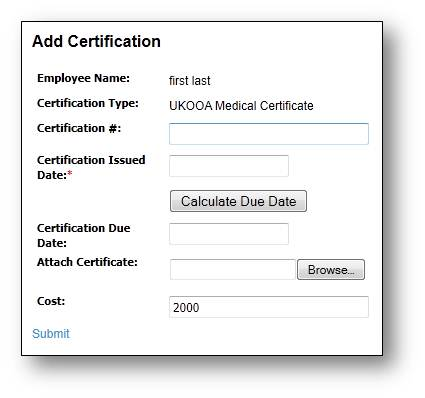 employee certifications tracking web qms application