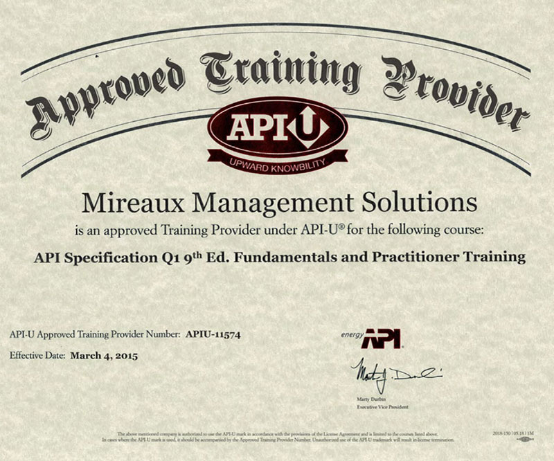 Mireaux Management Solutions | API-U Approved Training Provider
