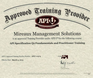 Certificate: Mireaux Management Solutions | API-U approved training provider