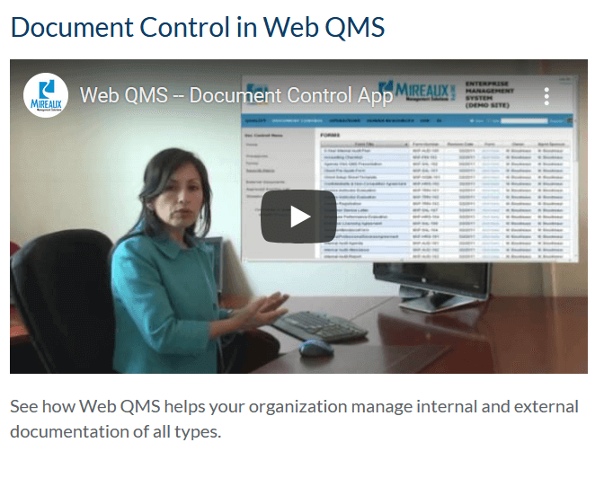 Document Control in Web QMS